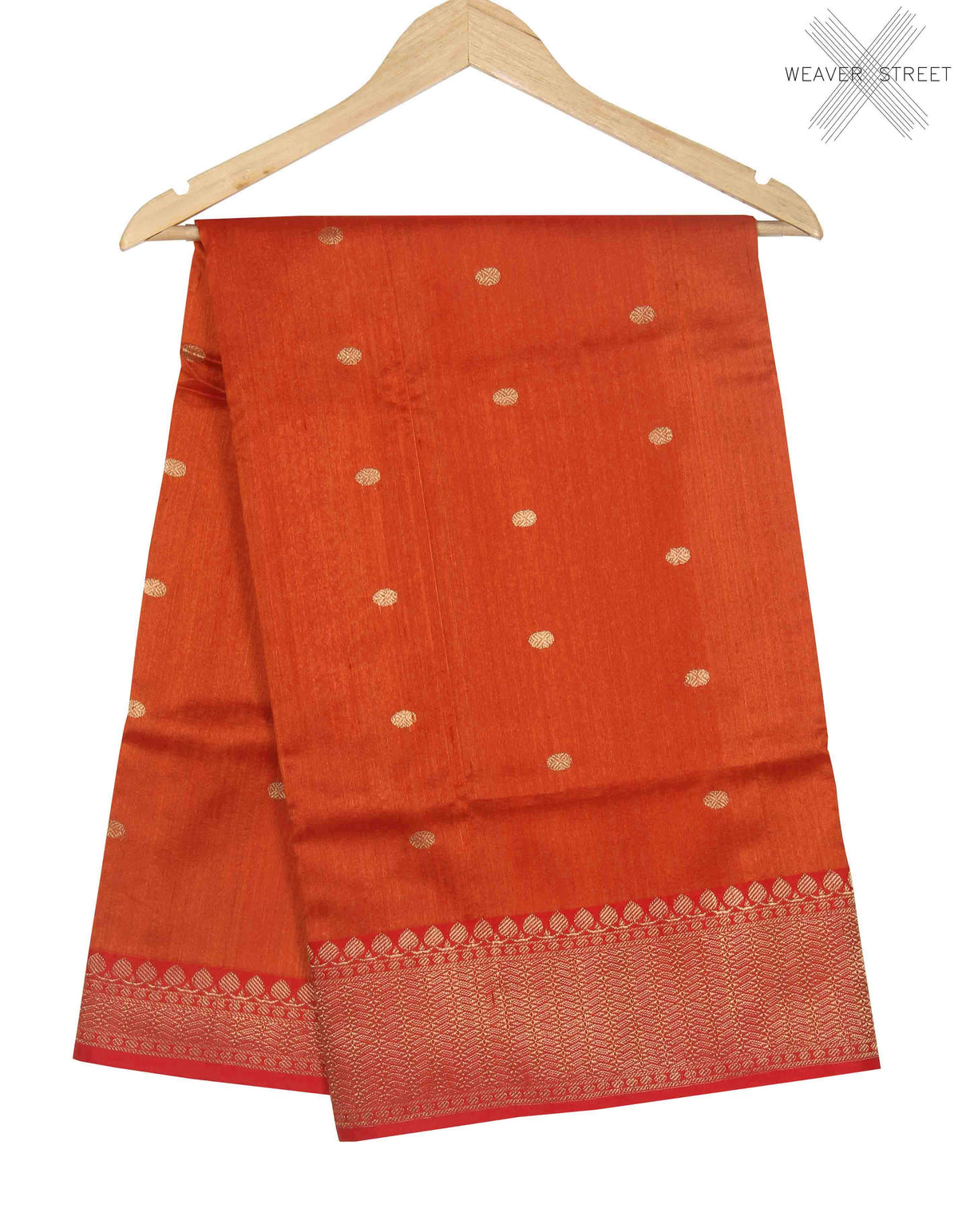 Orange Tussar Silk Handwoven Banarasi saree with polka dot motifs (1) main