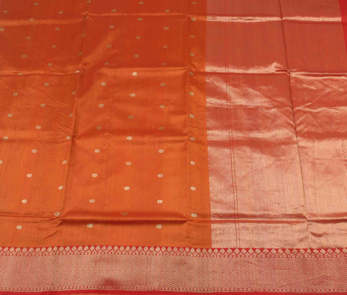Orange Tussar Silk Handwoven Banarasi saree with polka dot motifs (2) flat