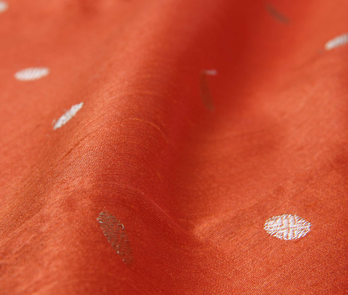 Orange Tussar Silk Handwoven Banarasi saree with polka dot motifs (3) closeup