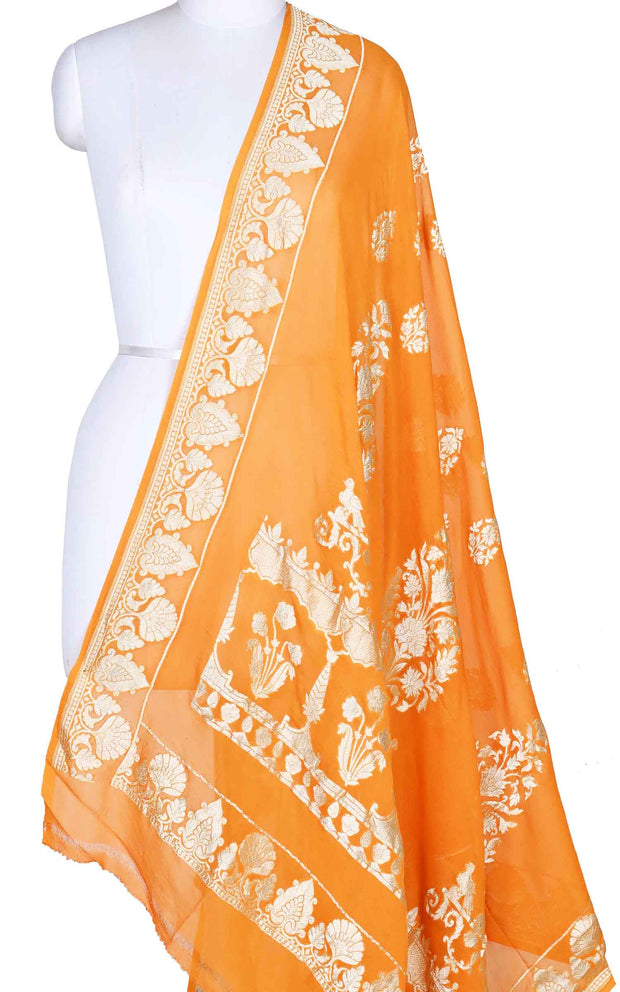 Orange khaddi georgette Banarasi dupatta with leaf shape boota (1) Main