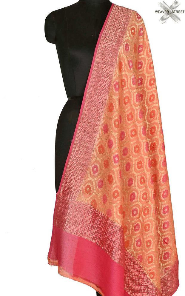 Orange muga silk Banarasi dupatta with meenedar ogee jaal (1) Main