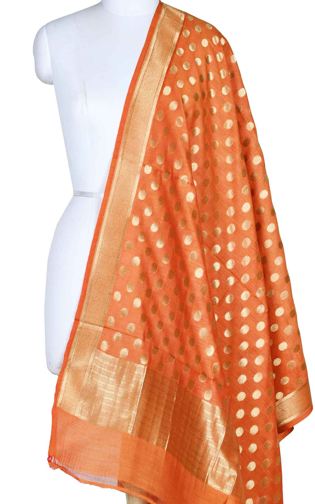 Orange muga silk Banarasi dupatta with polka dots booti (1) Main
