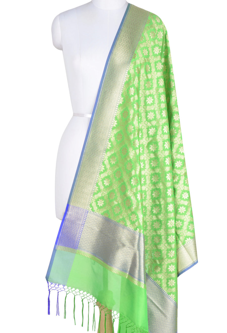 Parrot Green Art Silk Banarasi Dupatta with floral jaal and motifs (1) Main