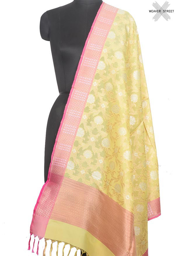 Pastel Yellow Banarasi Silk Dupatta with sona rupa floral jaal (1) Main