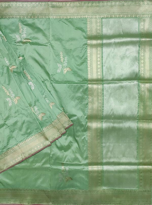 Pastel mint green katan silk Banarasi saree with tulsi plant boota in sona rupa zari (1) main