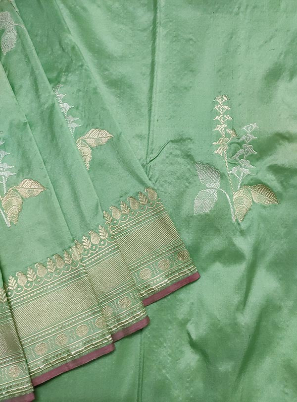 Pastel mint green katan silk Banarasi saree with tulsi plant boota in sona rupa zari (2) close up