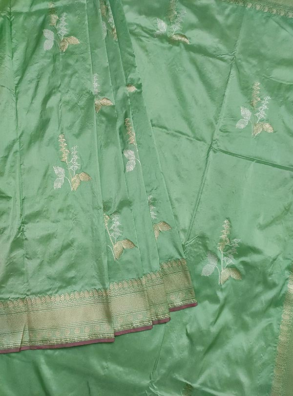 Pastel mint green katan silk Banarasi saree with tulsi plant boota in sona rupa zari (3) center