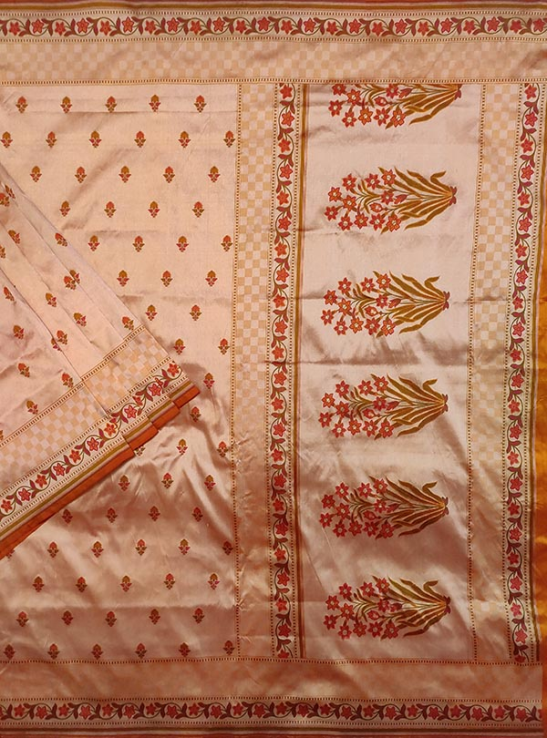 Peach Katan silk handloom Banarasi saree with mini flower booti (1) main