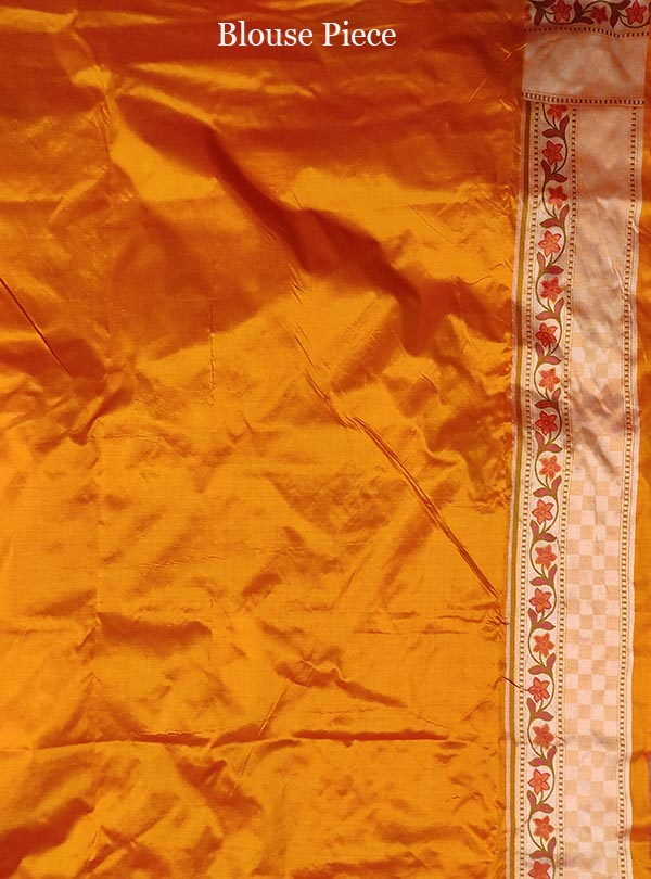 Peach Katan silk handloom Banarasi saree with mini flower booti (5) blouse