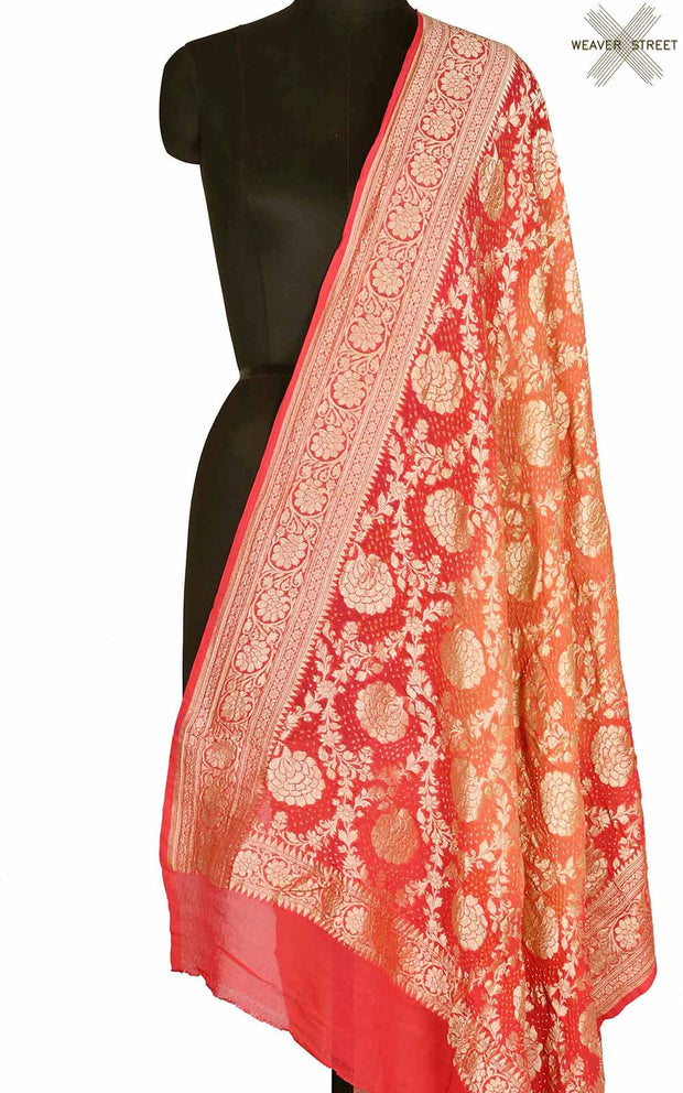 Peach Orange khaddi georgette Bandhani Banarasi dupatta (1) Main