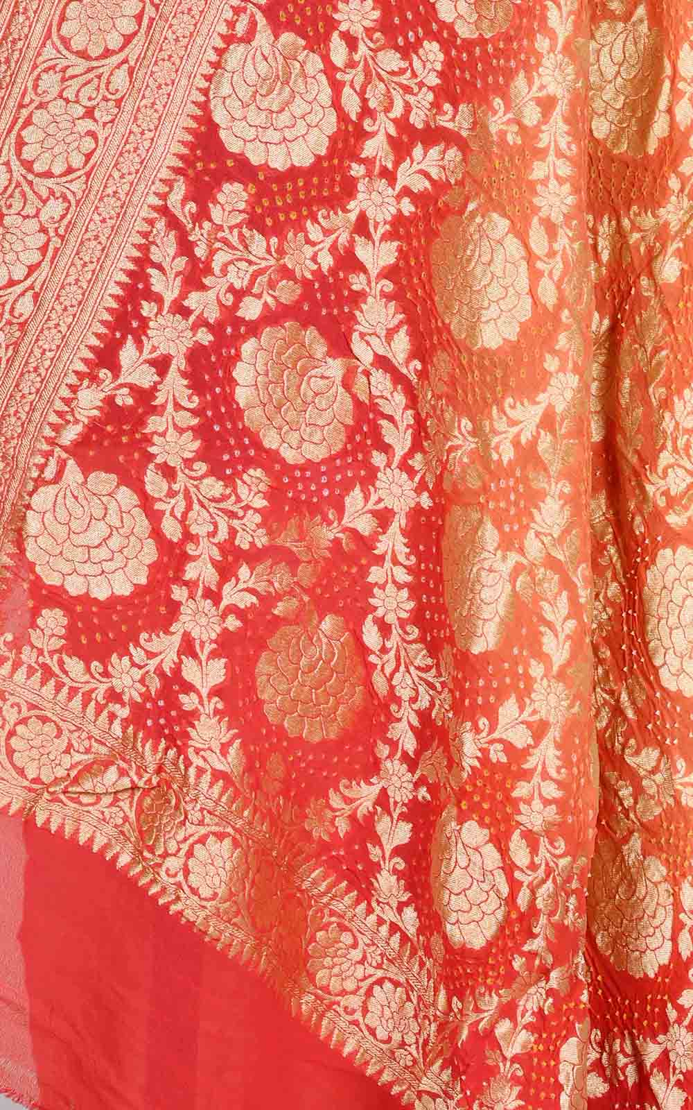 Peach Orange khaddi georgette Bandhani Banarasi dupatta (2) Close up