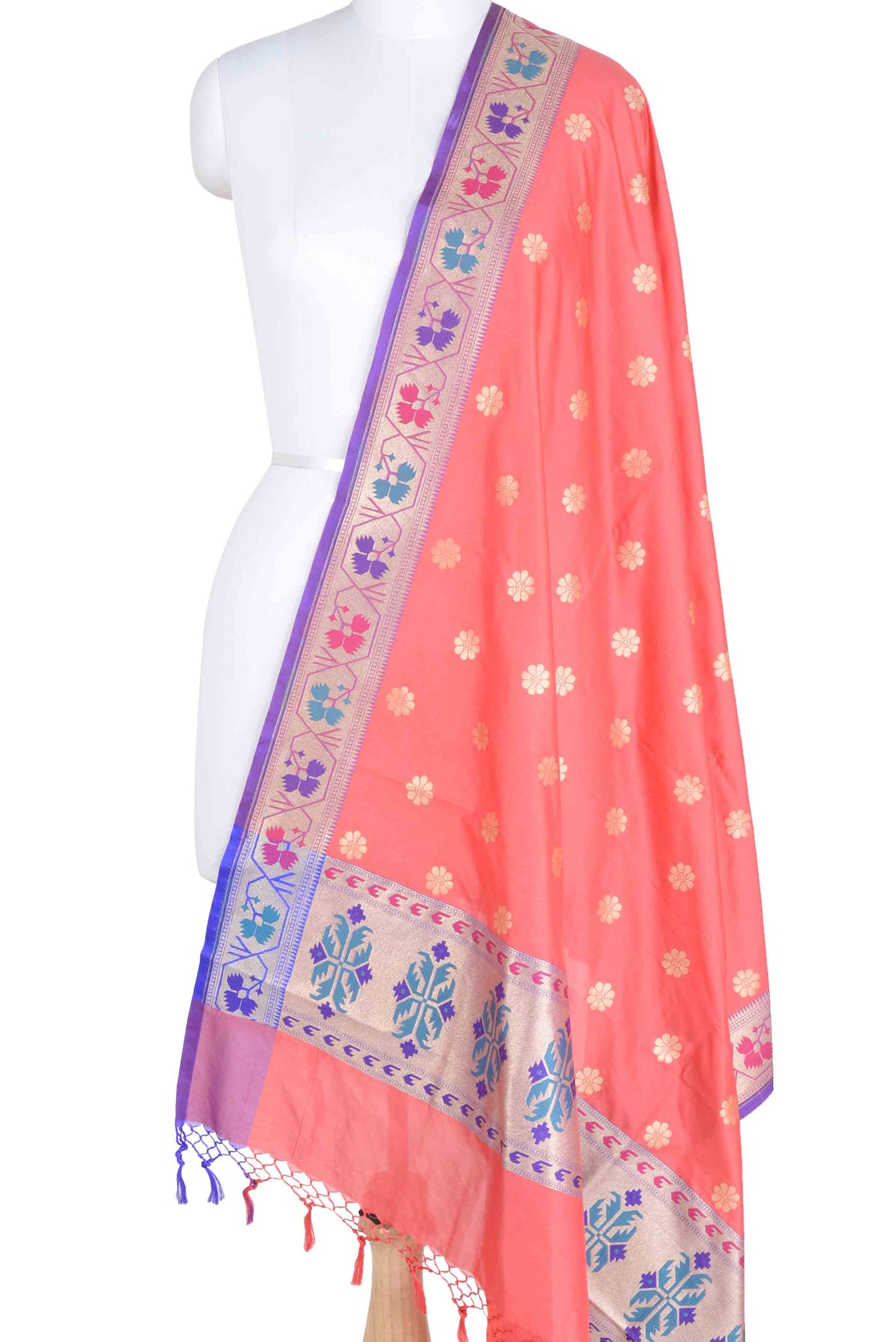 Peach Banarasi Dupatta with multi color border with floral motif (1) Main