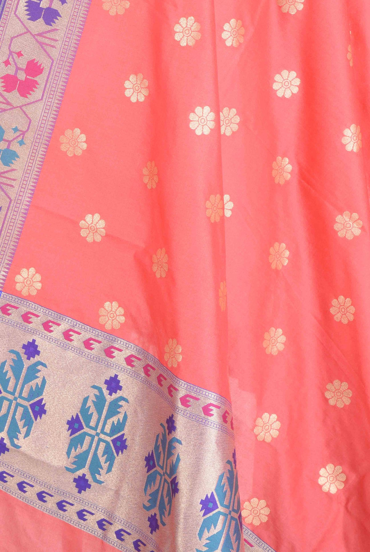 Peach Banarasi Dupatta with multi color border with floral motif (2) Closeup