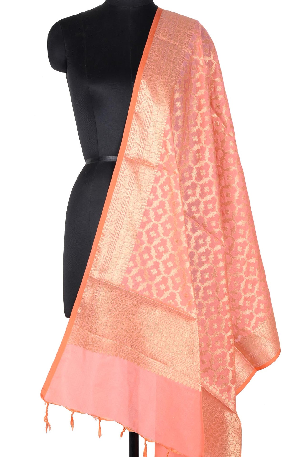 Peach Banarasi dupatta with booti inside ogee jaal (1) Main