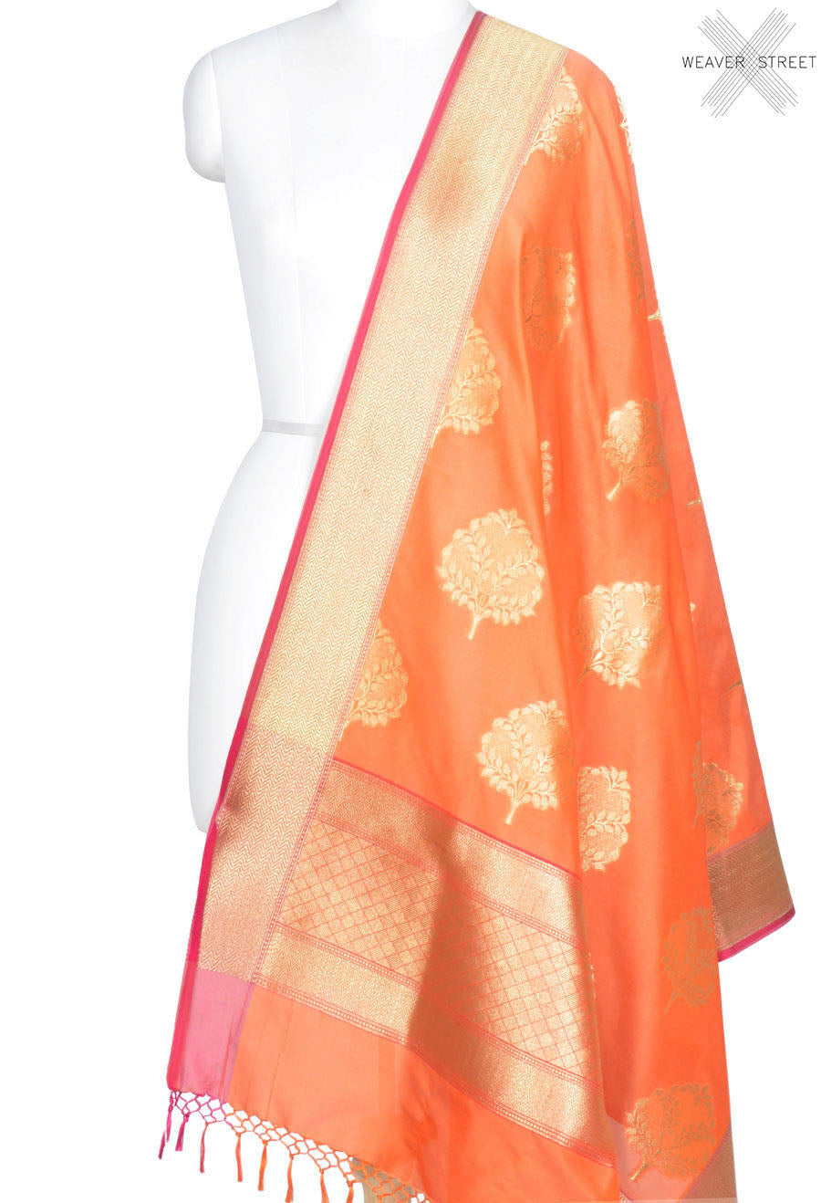 Peach Banarasi dupatta with tree boota in gold (1) Main