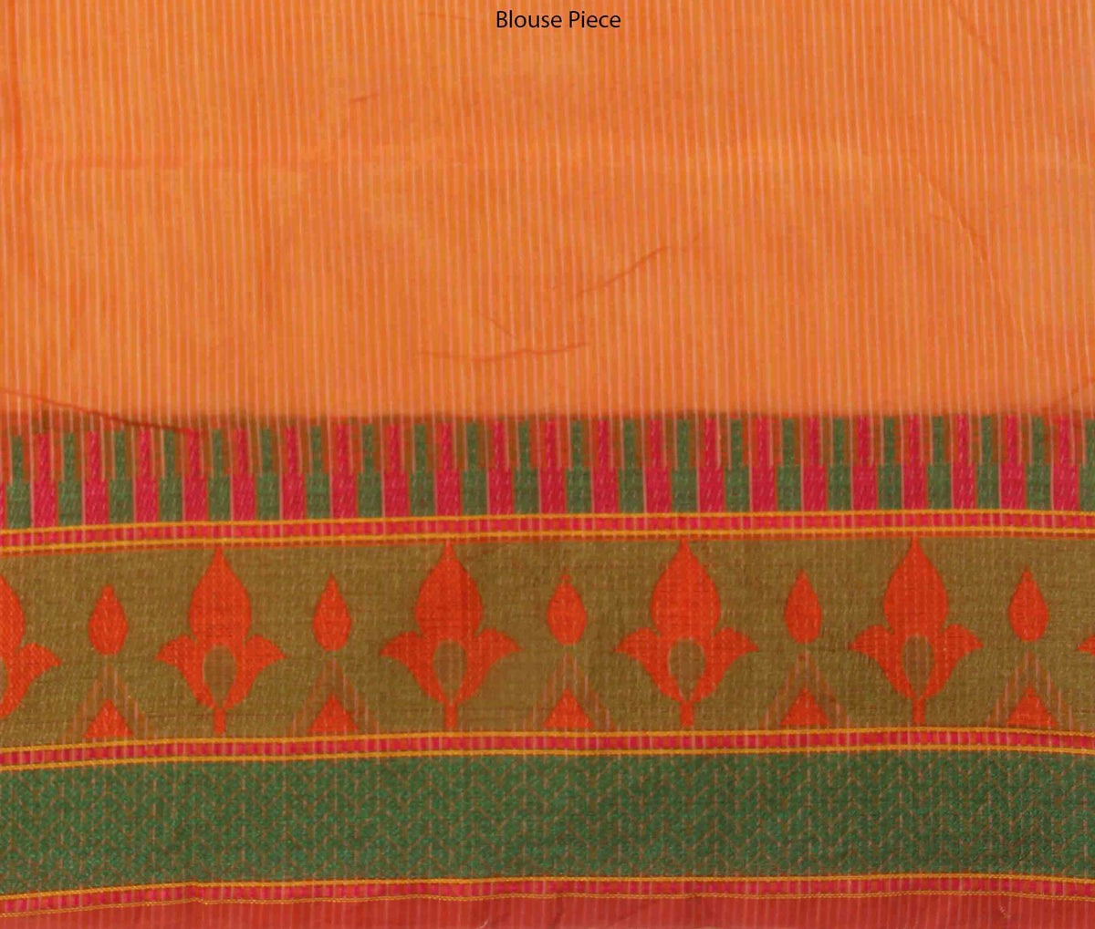 Peach Cotton Supernet Banarasi Saree with Floral jaal (4) blouse