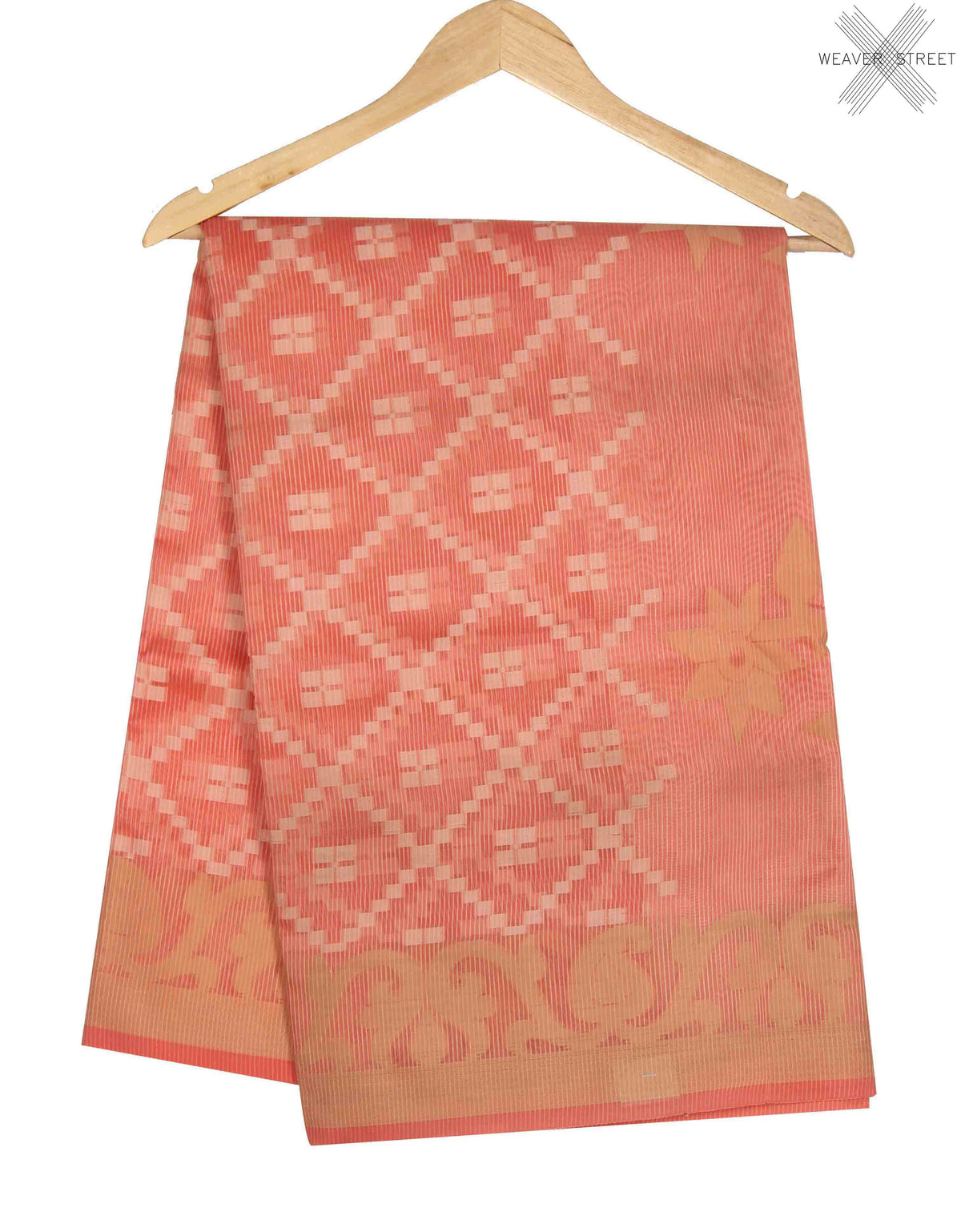 Peach Cotton Supernet Banarasi Saree with grid pattern (1) main