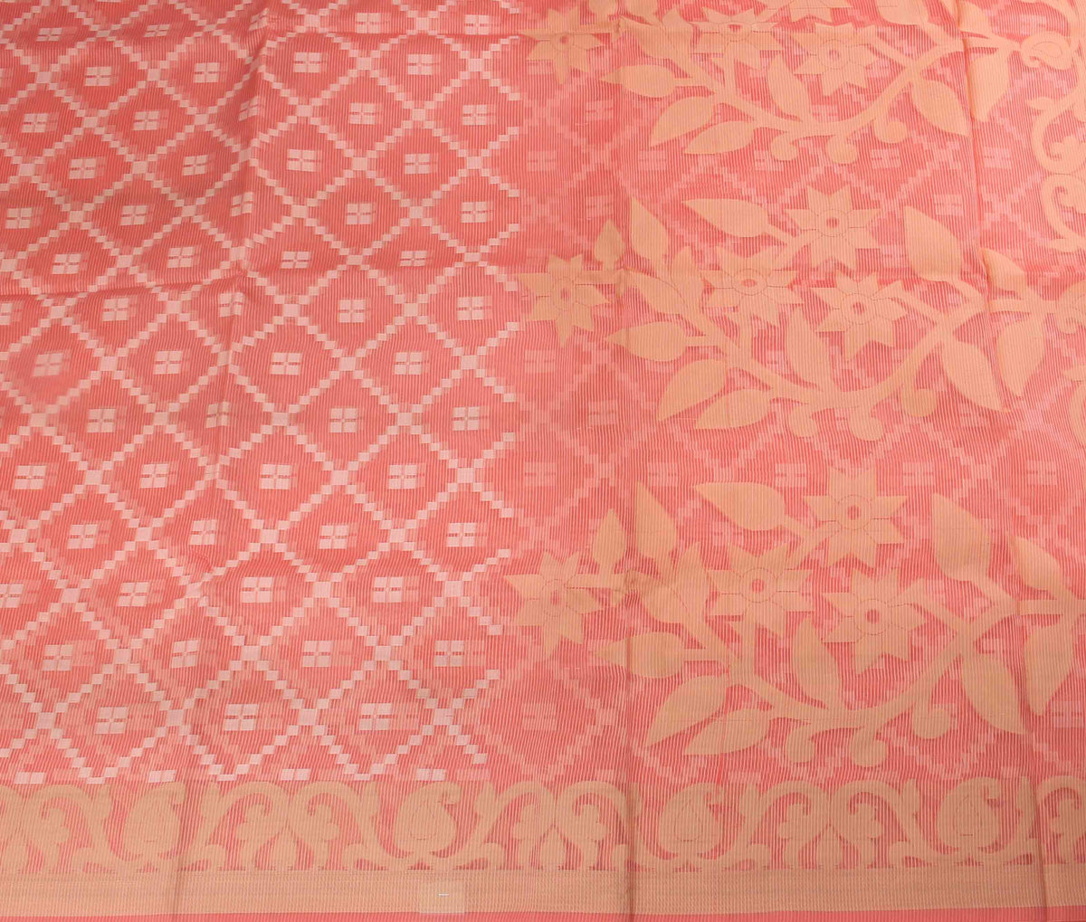 Peach Cotton Supernet Banarasi Saree with grid pattern (2) flat