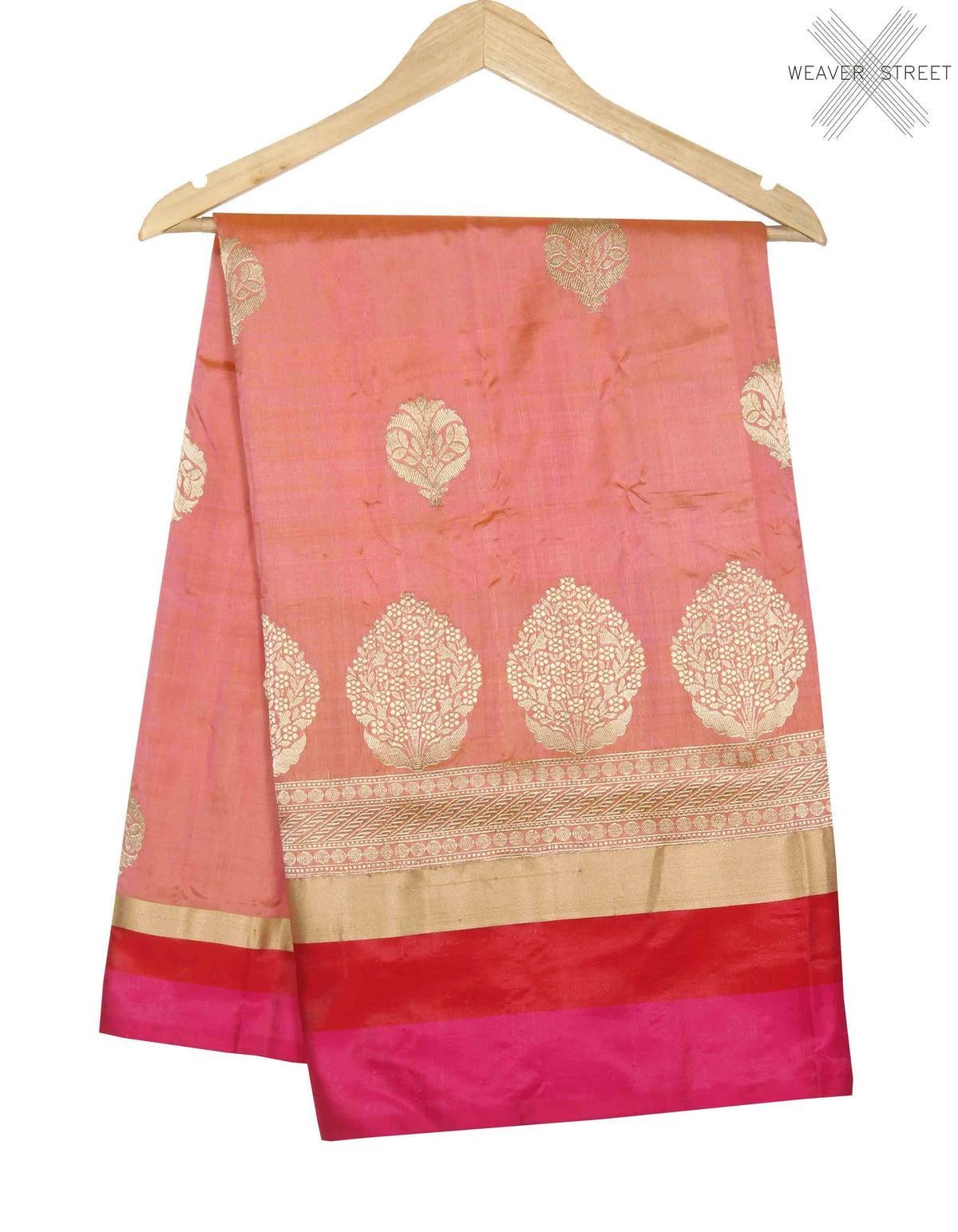 Peach Katan silk handwoven Banarasi saree with floral boota (1) main