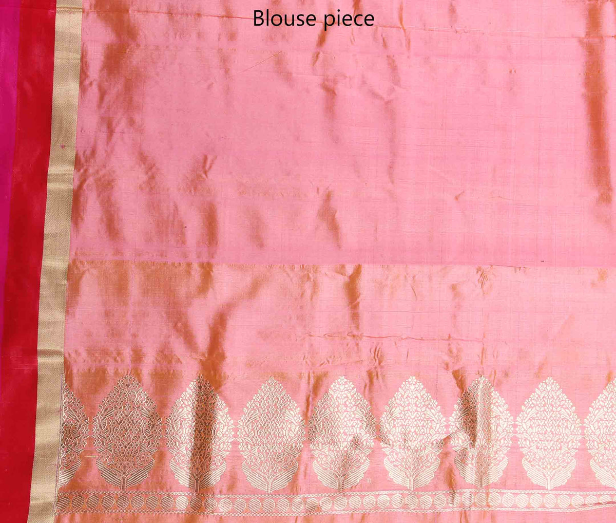 Peach Katan silk handwoven Banarasi saree with floral boota (4) blouse