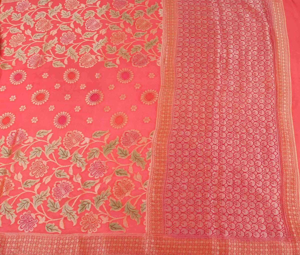 Peach Khaddi Georgette Banarasi Saree with floral jaal (2) flat