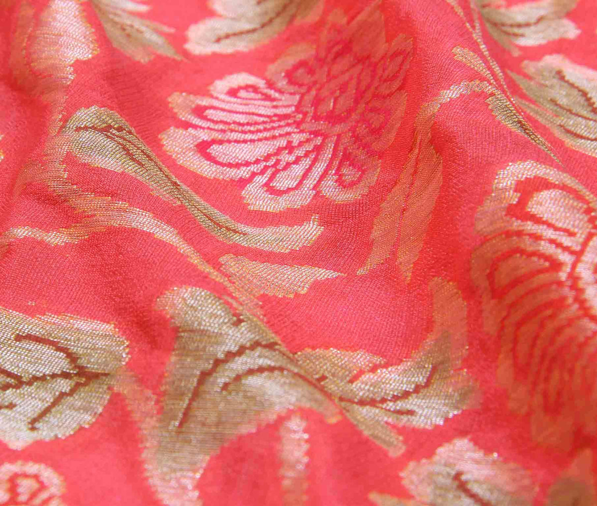 Peach Khaddi Georgette Banarasi Saree with floral jaal (3) closeup