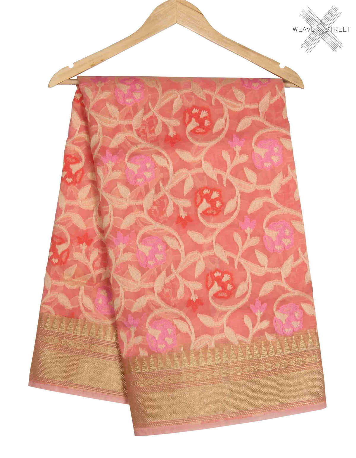 Peach Kora Banarasi saree with resham floral jaal (1) main