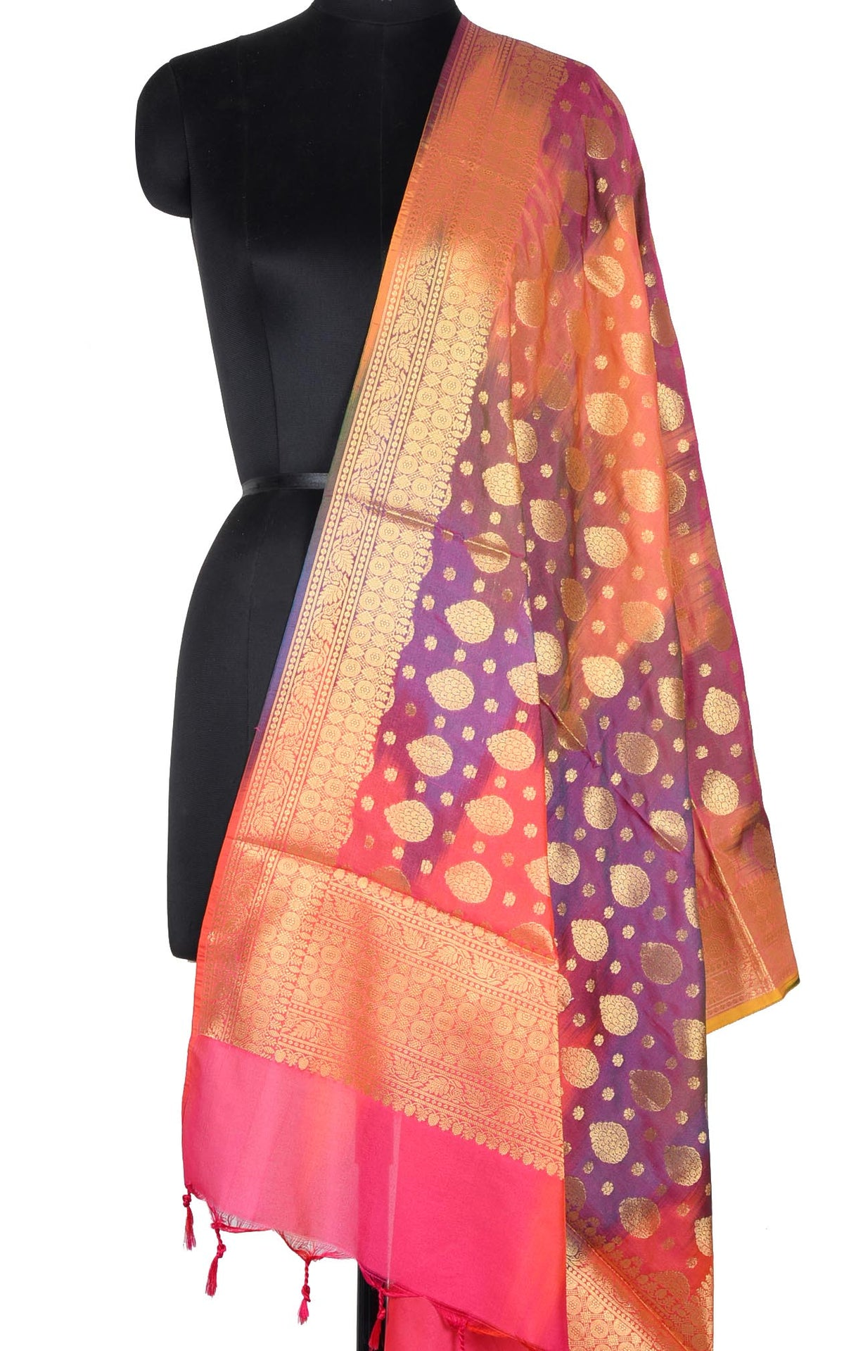 Peach Multi color Ikat dyed Banarasi dupatta with leaf shape booti (1) Main