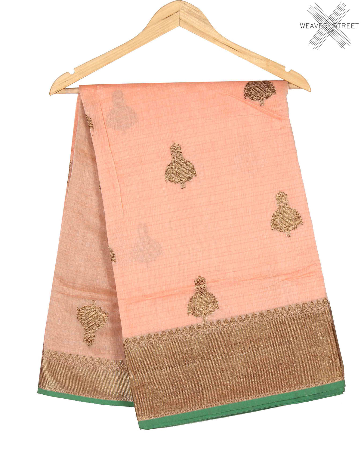 Peach Silk Cotton Handwoven Banarasi saree with kadwa boota (1) Main