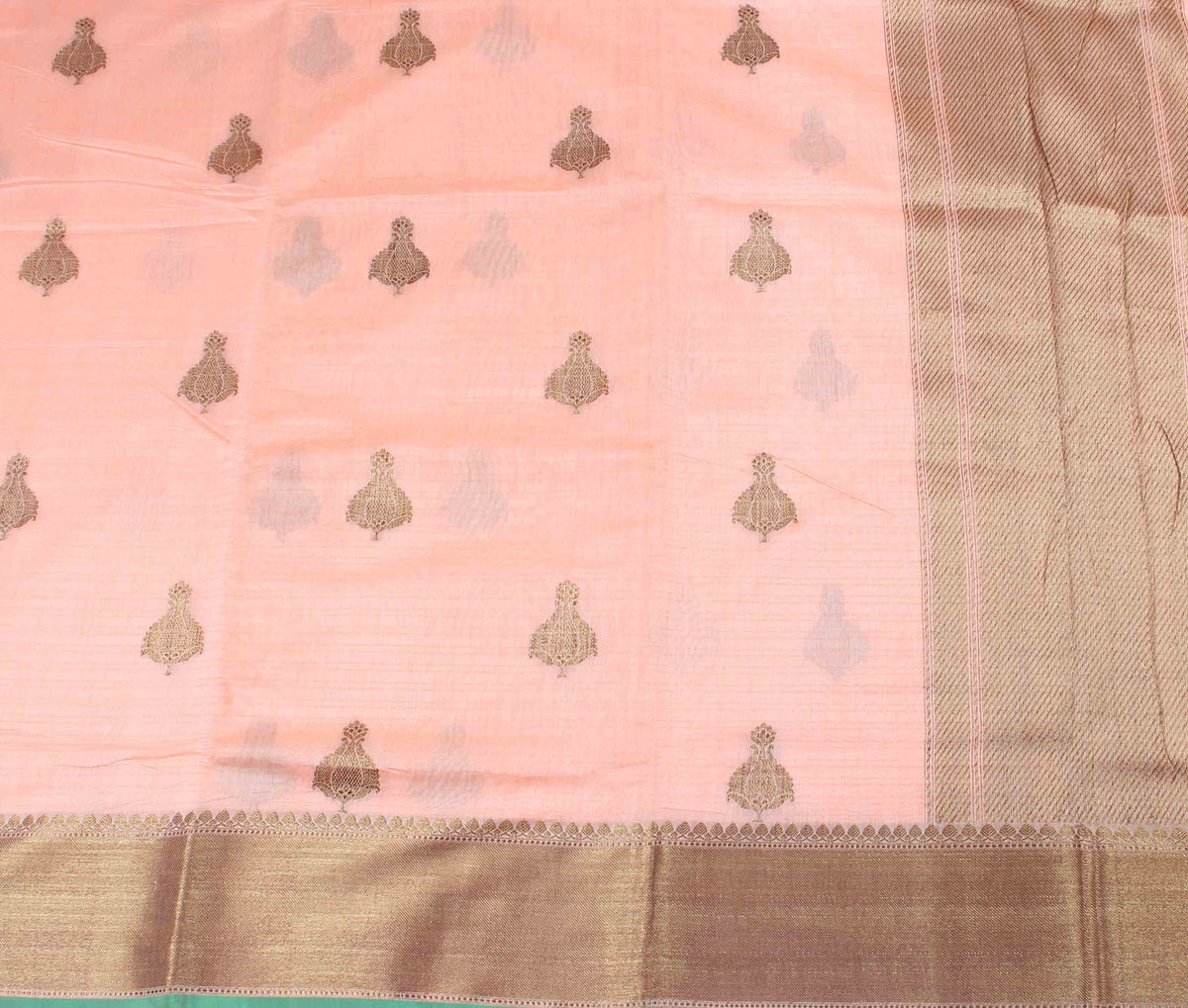Peach Silk Cotton Handwoven Banarasi saree with kadwa boota (2) Flat