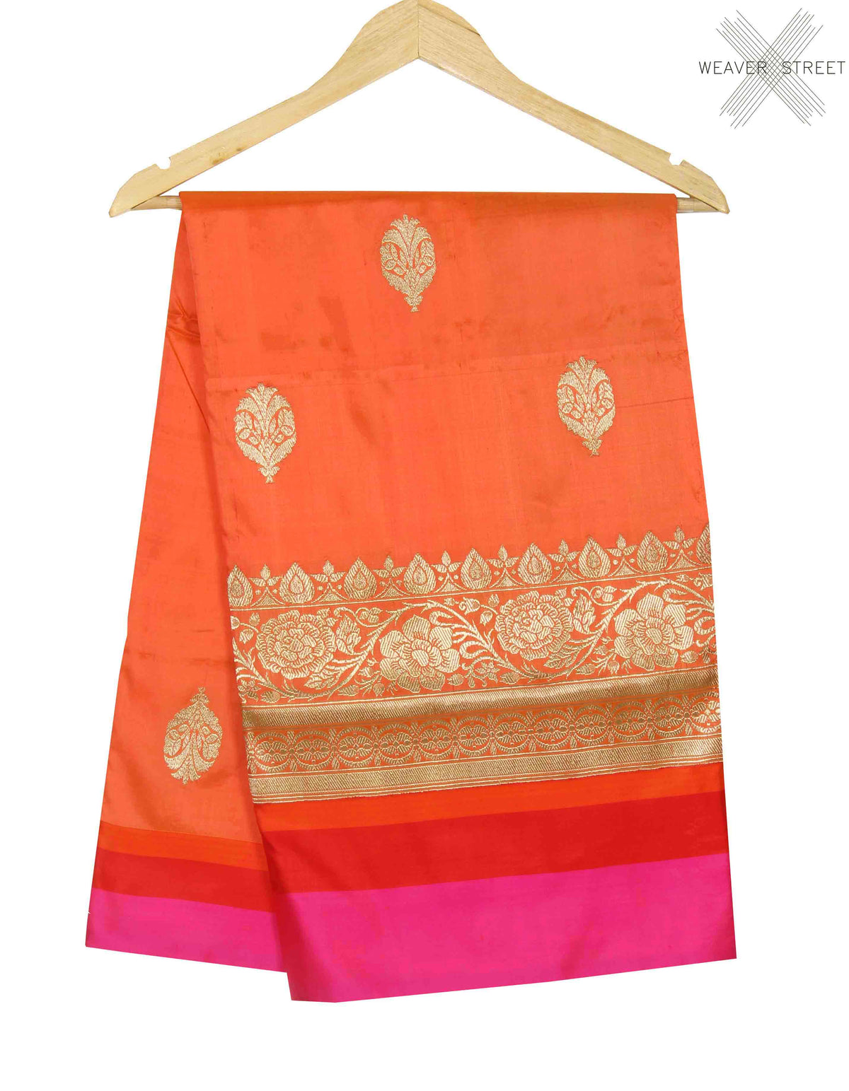 Peach katan silk handwoven Banarasi saree with flower and leaf boota (1) main