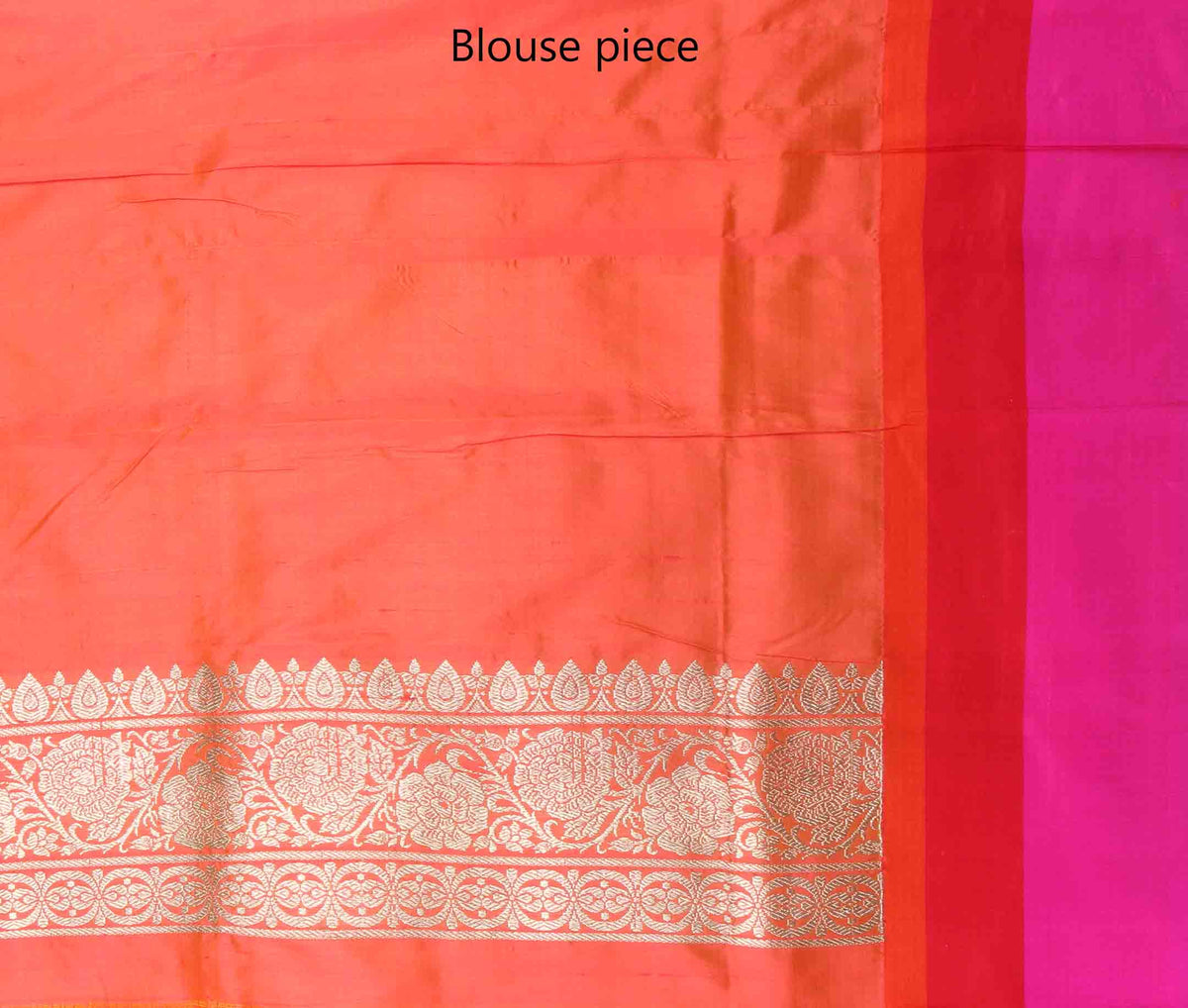 Peach katan silk handwoven Banarasi saree with flower and leaf boota (4) blouse