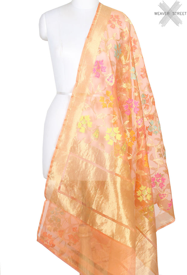 Peach kora silk Banarasi dupatta with multi color flower jaal (1) main