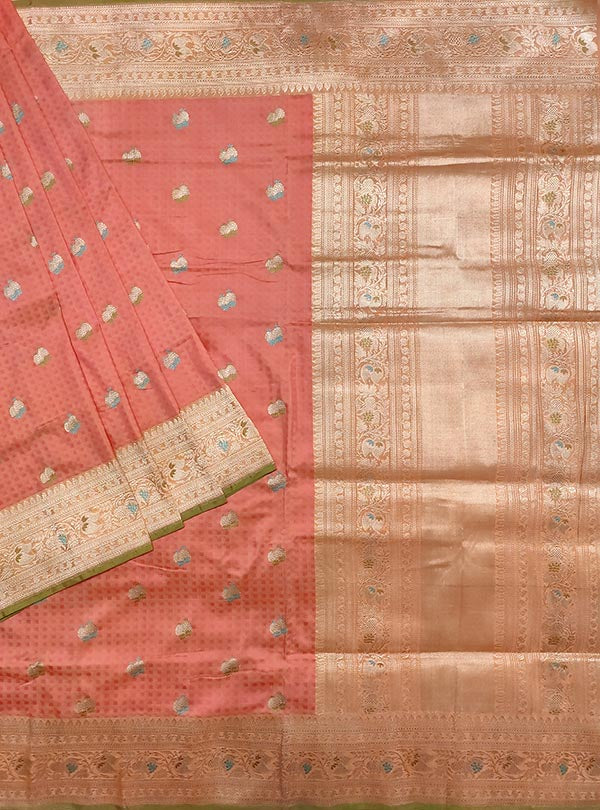 Peach katan silk tanchoi Banarasi saree with meenedar fruits booti (1) main