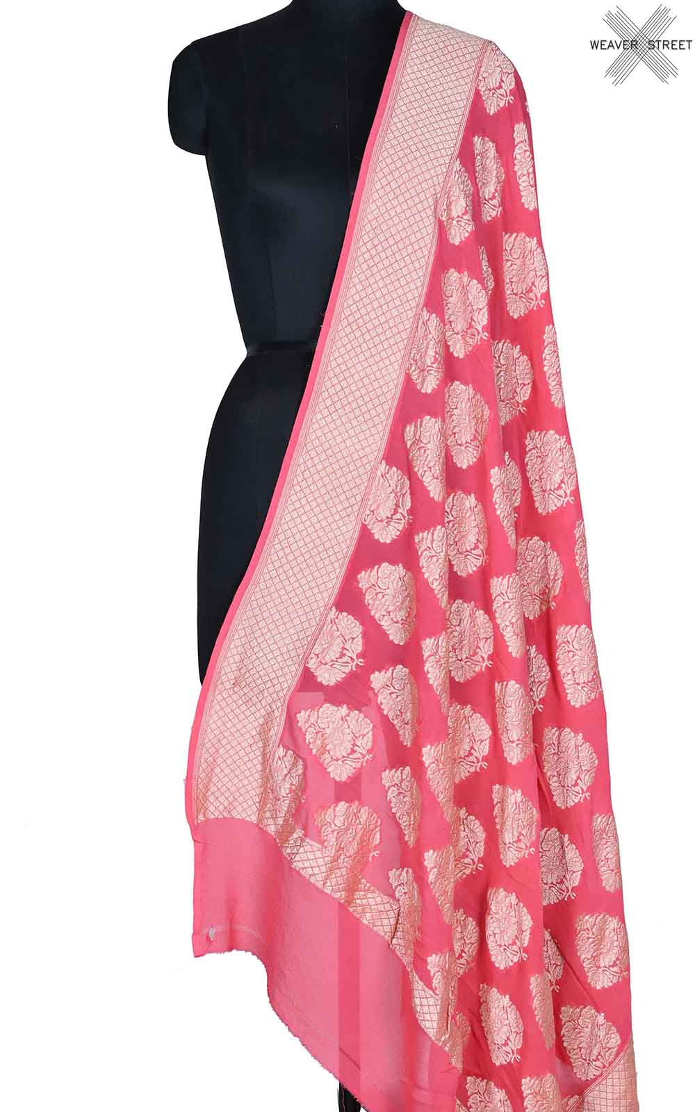 Peach khaddi georgette Banarasi dupatta with Leaf shape boota (1) Main
