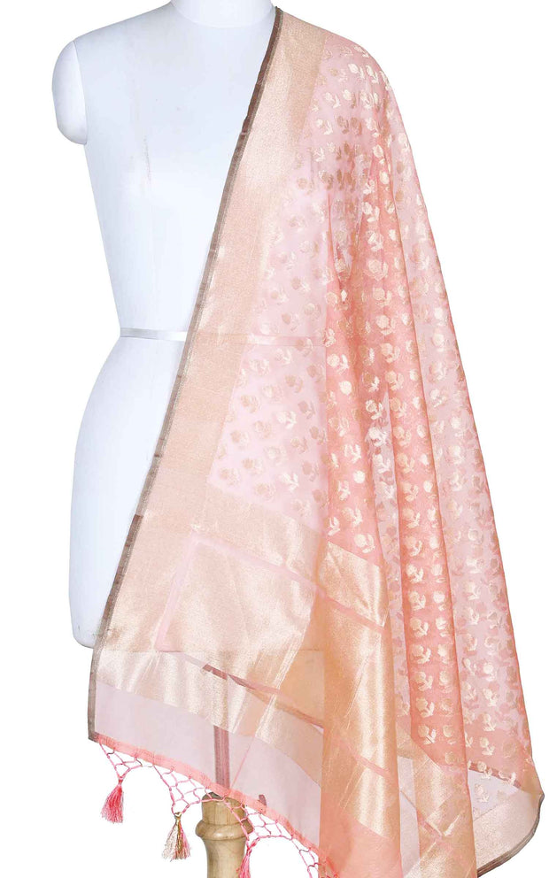 Peach kora silk Banarasi dupatta with mini flower booti (1) Main