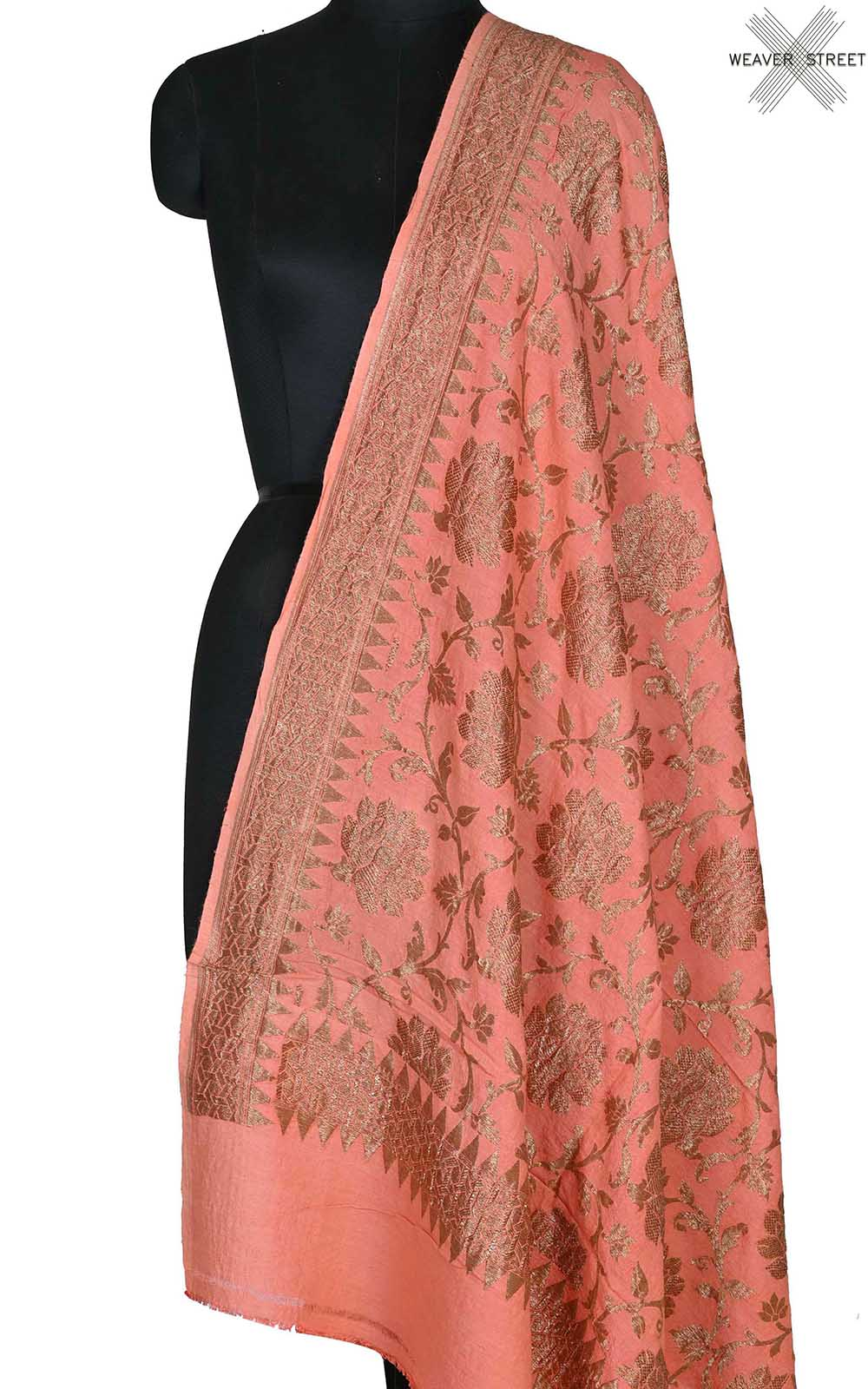 Peach muga silk Banarasi dupatta with antique floral jaal (1) Main