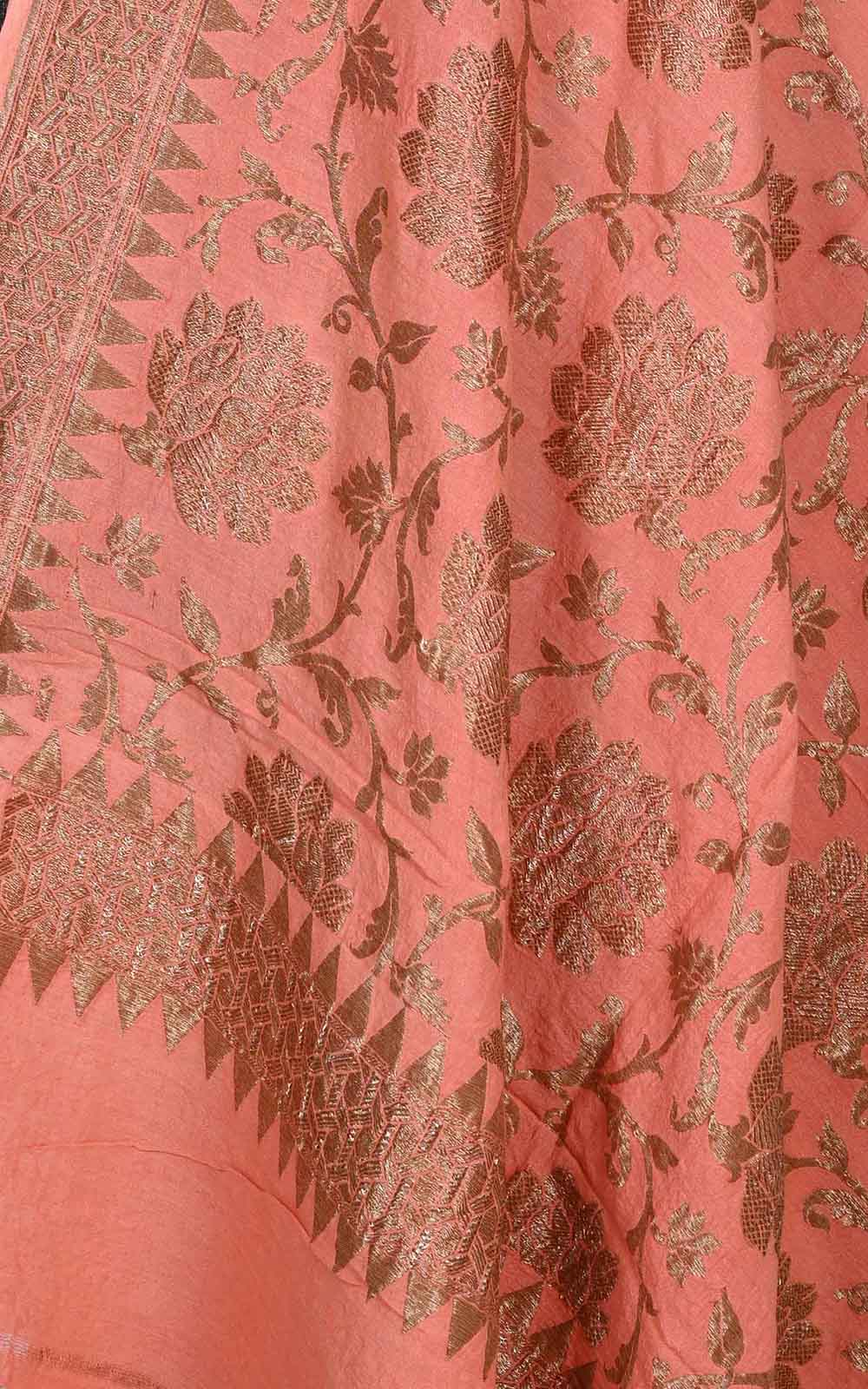Peach muga silk Banarasi dupatta with antique floral jaal (2) Close up