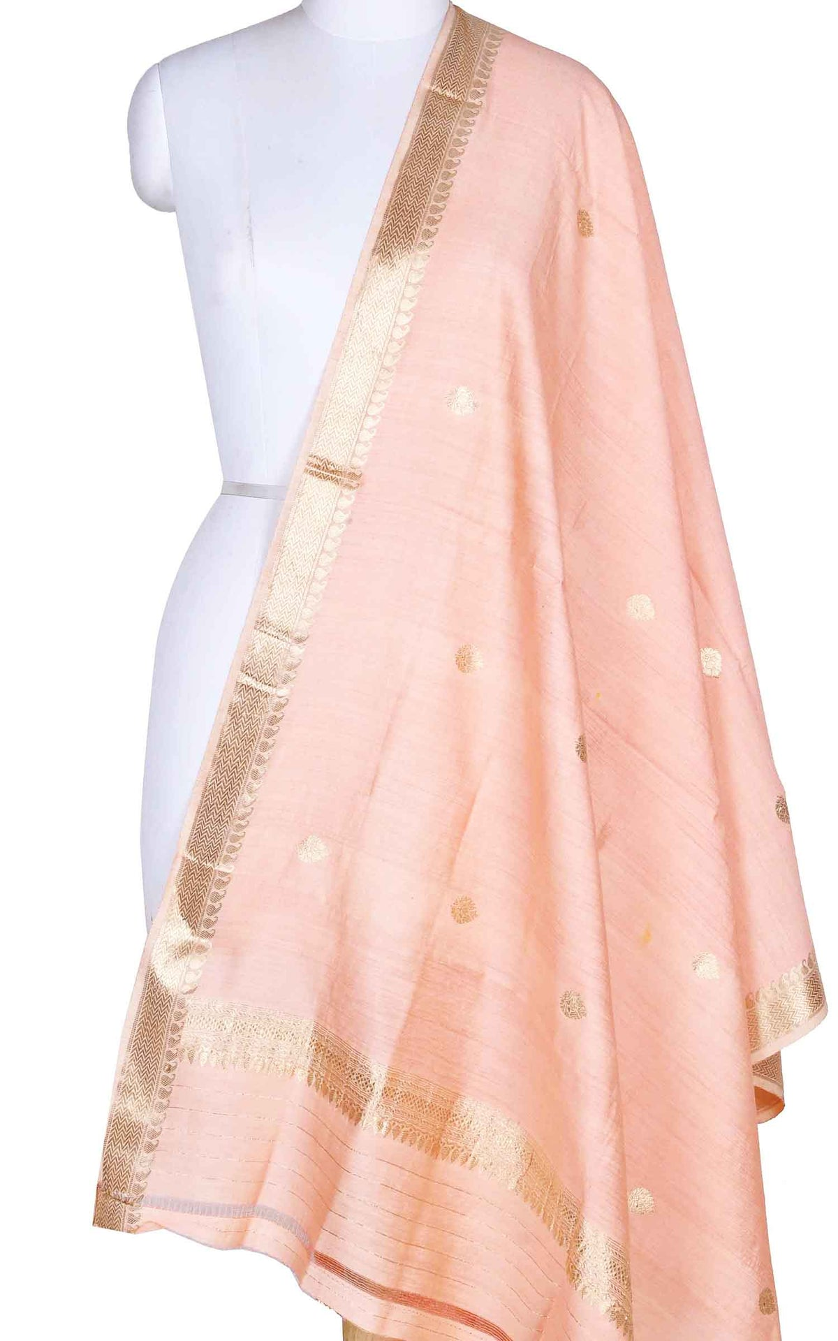 Peach muga silk Banarasi dupatta with small leaf shape booti (1) Main
