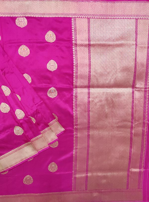 Pink Katan silk Banarasi saree with meenedar stylized leaf boota (1) MAIN