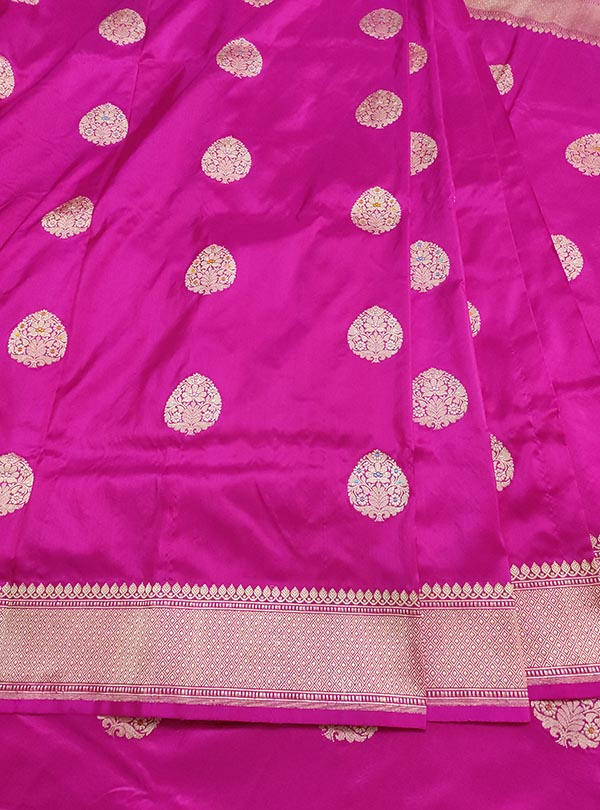 Pink Katan silk Banarasi saree with meenedar stylized leaf boota (3) CENTER