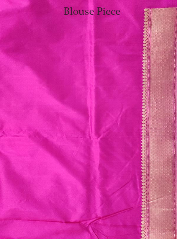 Pink Katan silk Banarasi saree with meenedar stylized leaf boota (5) BLOUSE
