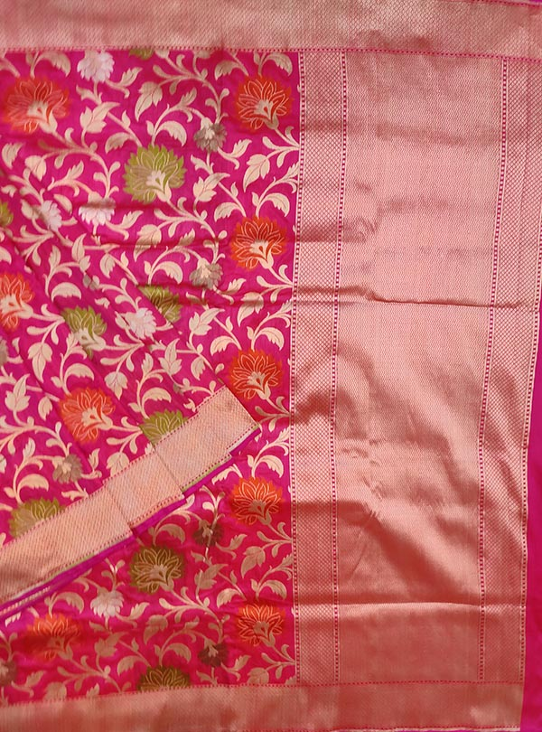 Pink Katan silk Banarasi saree with multi color flower jaal (1) MAIN