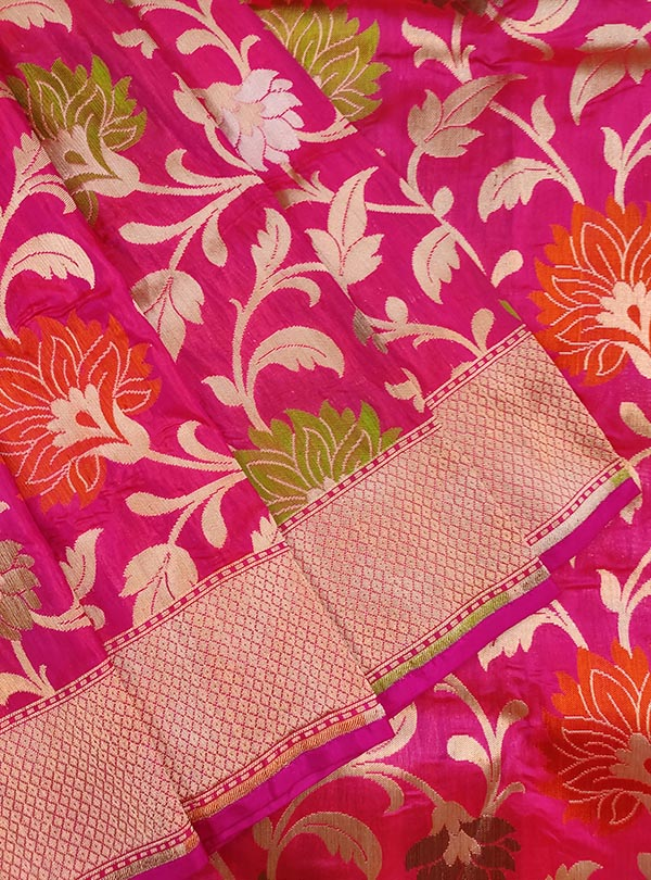 Pink Katan silk Banarasi saree with multi color flower jaal (2) CLOSEUP
