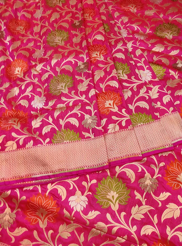 Pink Katan silk Banarasi saree with multi color flower jaal (3) CENTER