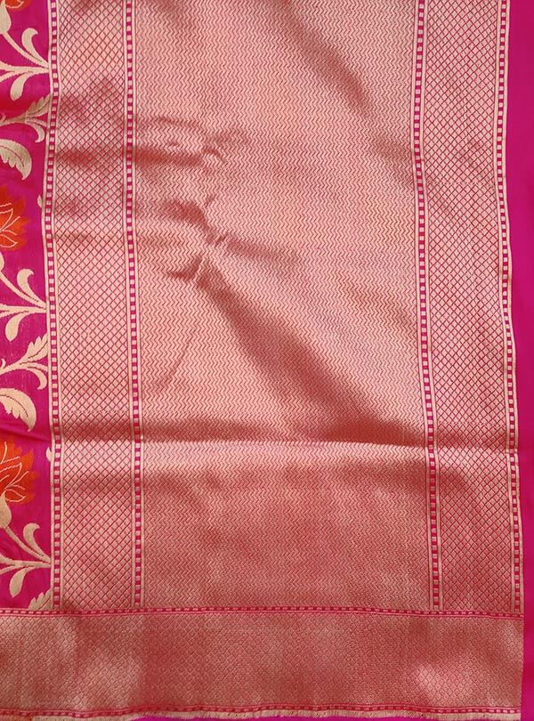 Pink Katan silk Banarasi saree with multi color flower jaal (4) ANCHAL