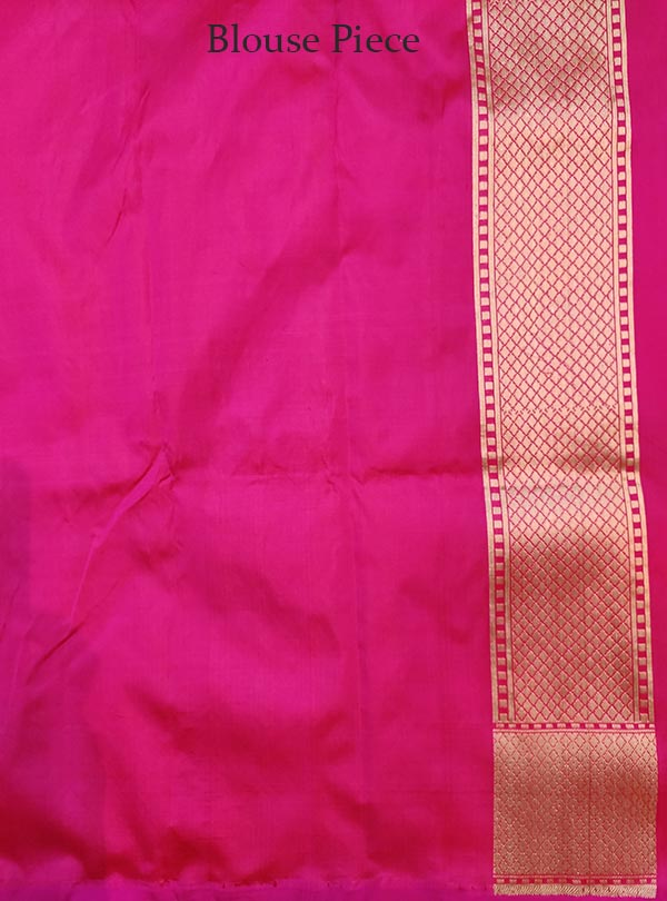 Pink Katan silk Banarasi saree with multi color flower jaal (5) BLOUSE