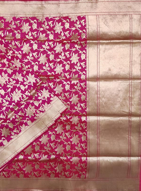 Pink Katan silk handloom Banarasi saree with flower jaal (1) main