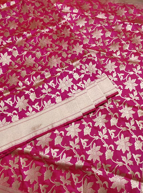 Pink Katan silk handloom Banarasi saree with flower jaal (3) center