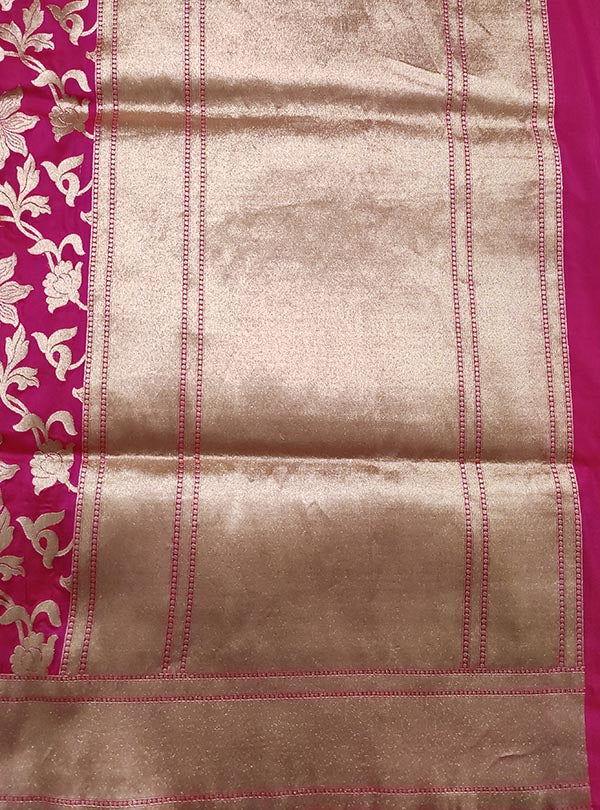 Pink Katan silk handloom Banarasi saree with flower jaal (4) anchal